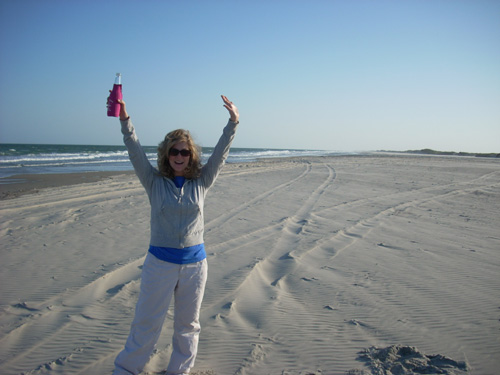 Daughter meghan on the beach on Ocracoke Island,N.C.