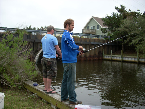Son David and Son-in-law John fishing on Ocrcoke,N.C